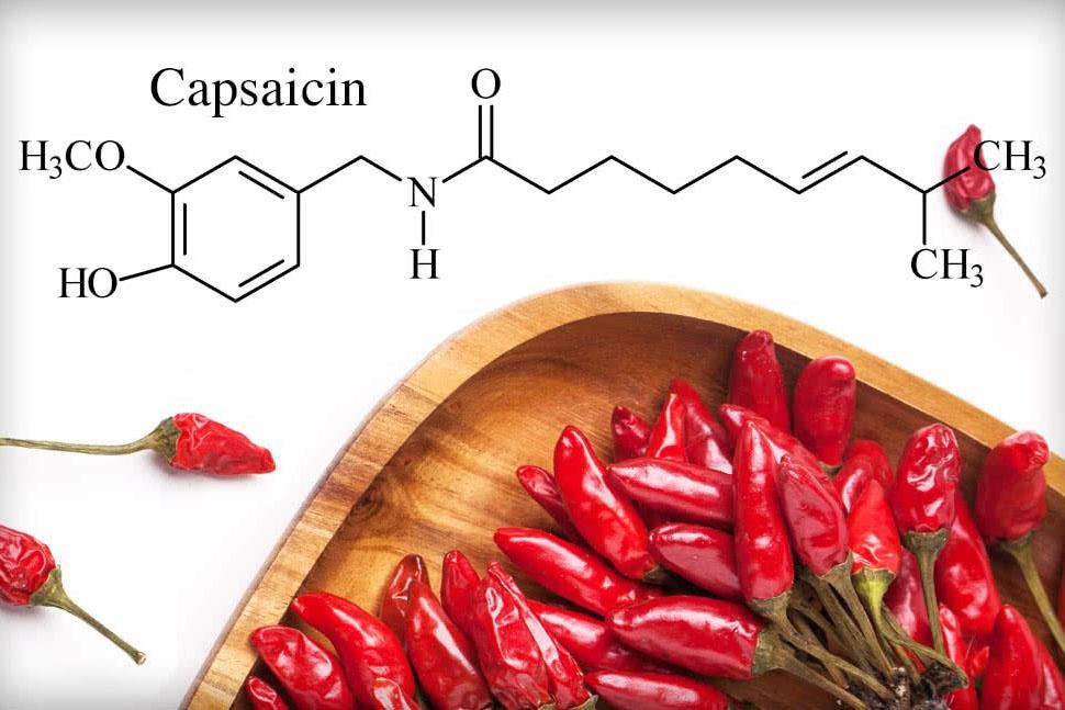 Capsaicin trong ớt đỏ.