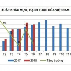 Xuất khẩu mực, bạch tuộc tăng trưởng chậm