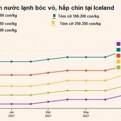 Giá tôm nước lạnh tăng liên tục từ tháng 7 năm nay